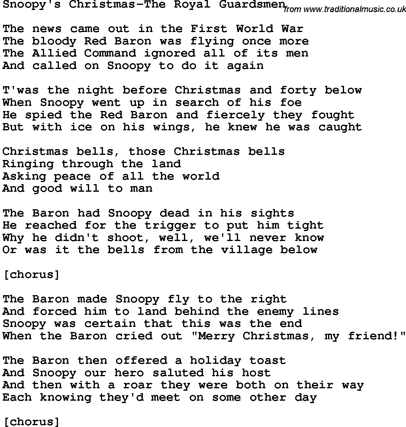 Snoopys Christmas Lyrics.Royal Guardsmen Novelty Song Snoopy S Christmas The Royal