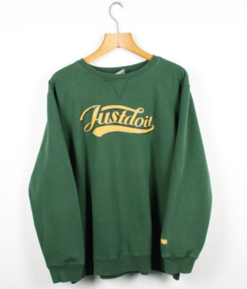 d2cac606d7 FOR SALE  Vintage NIKE Just Do It Green Sweatshirt Jumper