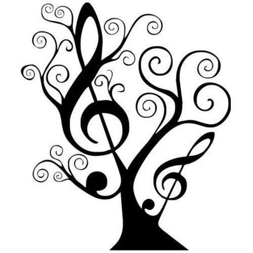 Notenbaum mit Notenschlüssel und Swirl
