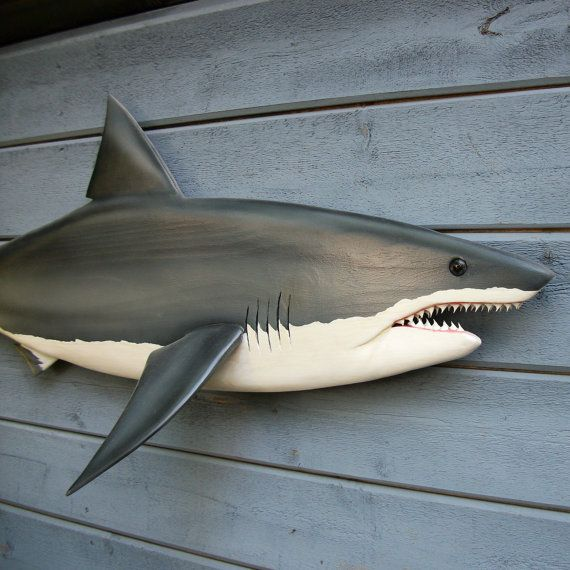 Great white shark 59 carving shark decor shark wall by for Requin decoration