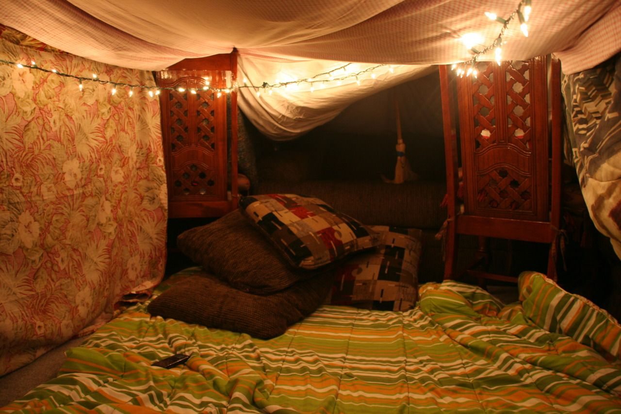 colorful pillow fort