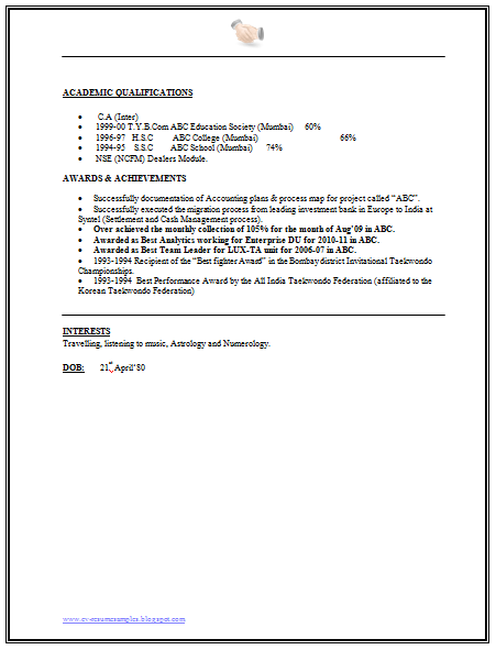 Financial Analyst Resume Format   Career    Resume