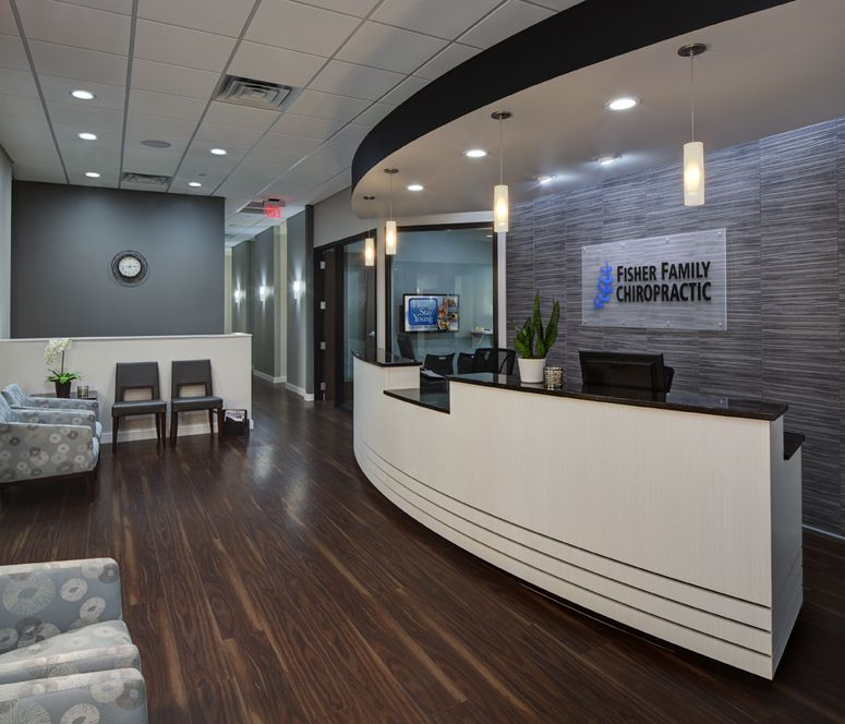 Fisher family chiropractic great example of using charcoal for Office area design