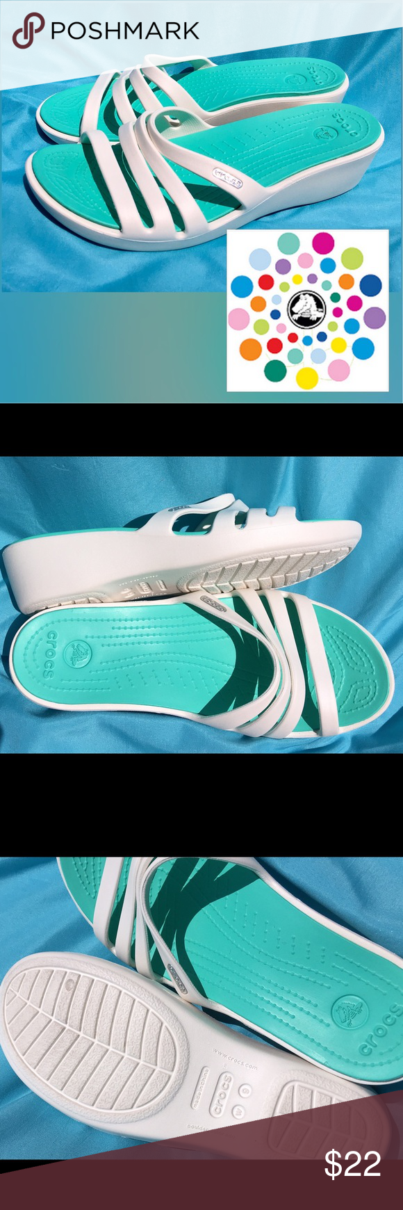 """f911cb0de7b CROCS """"Rhonda"""" Oyster White   Island Green CROCS """"Rhonda"""" Strappy Wedge  Sandals Heel Height (at Back of Shoe) 2"""" Color  Oyster White with Island  Green ..."""