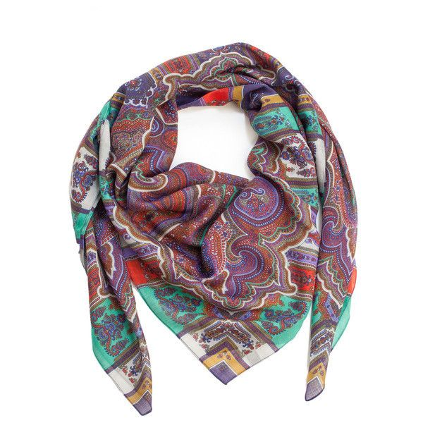 Cara-Large Lightweight Wool Silk Wrap ($92) ❤ liked on Polyvore featuring accessories, scarves, wool shawl, paisley scarves, paisley shawl, light weight scarves and pure silk scarves