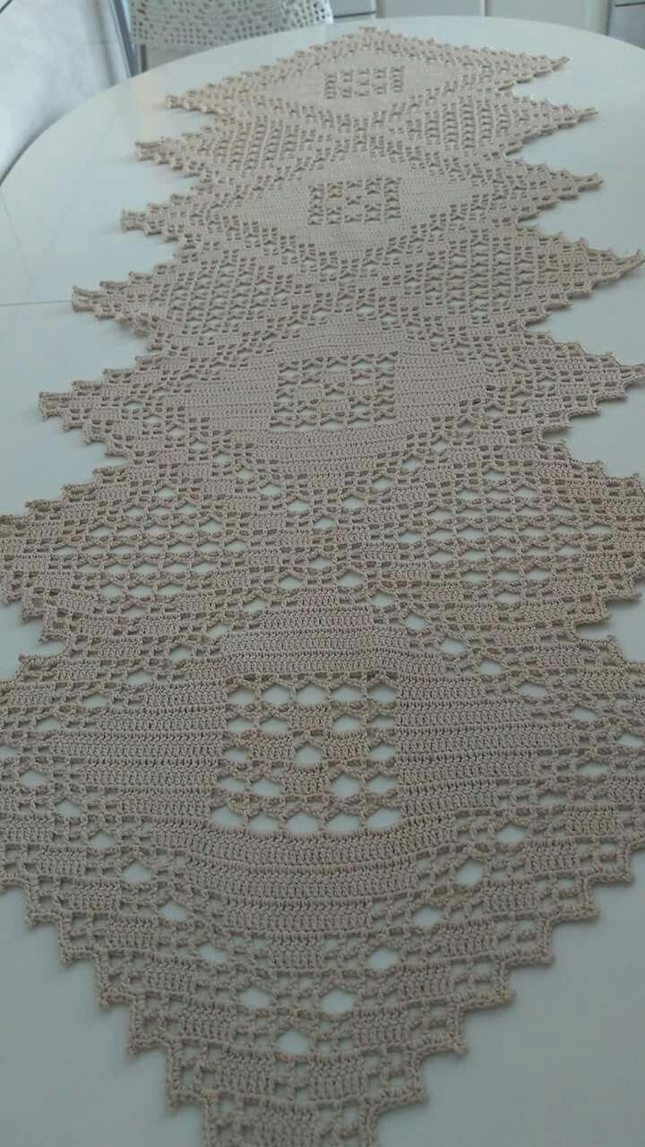 Retangular Beige A Com Imagens Caminho De Mesa De Croche