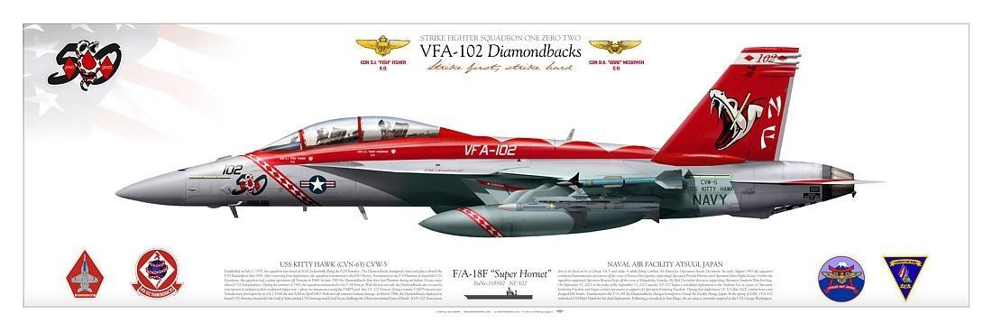 "UNITED STATES NAVY VFA-102 ""Diamondbacks"" NAVAL AIR FACILITY ATSUGI, JAPAN USS KITTY HAWK (CVN-73) CARRIER AIR WING FIVE (CVW-5)2005"