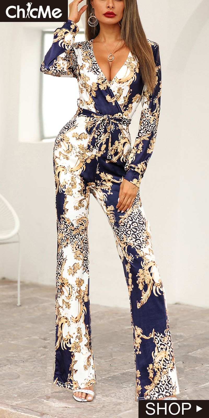 Photo of Long Sleeve Print V-Neck Wrap Jumpsuit