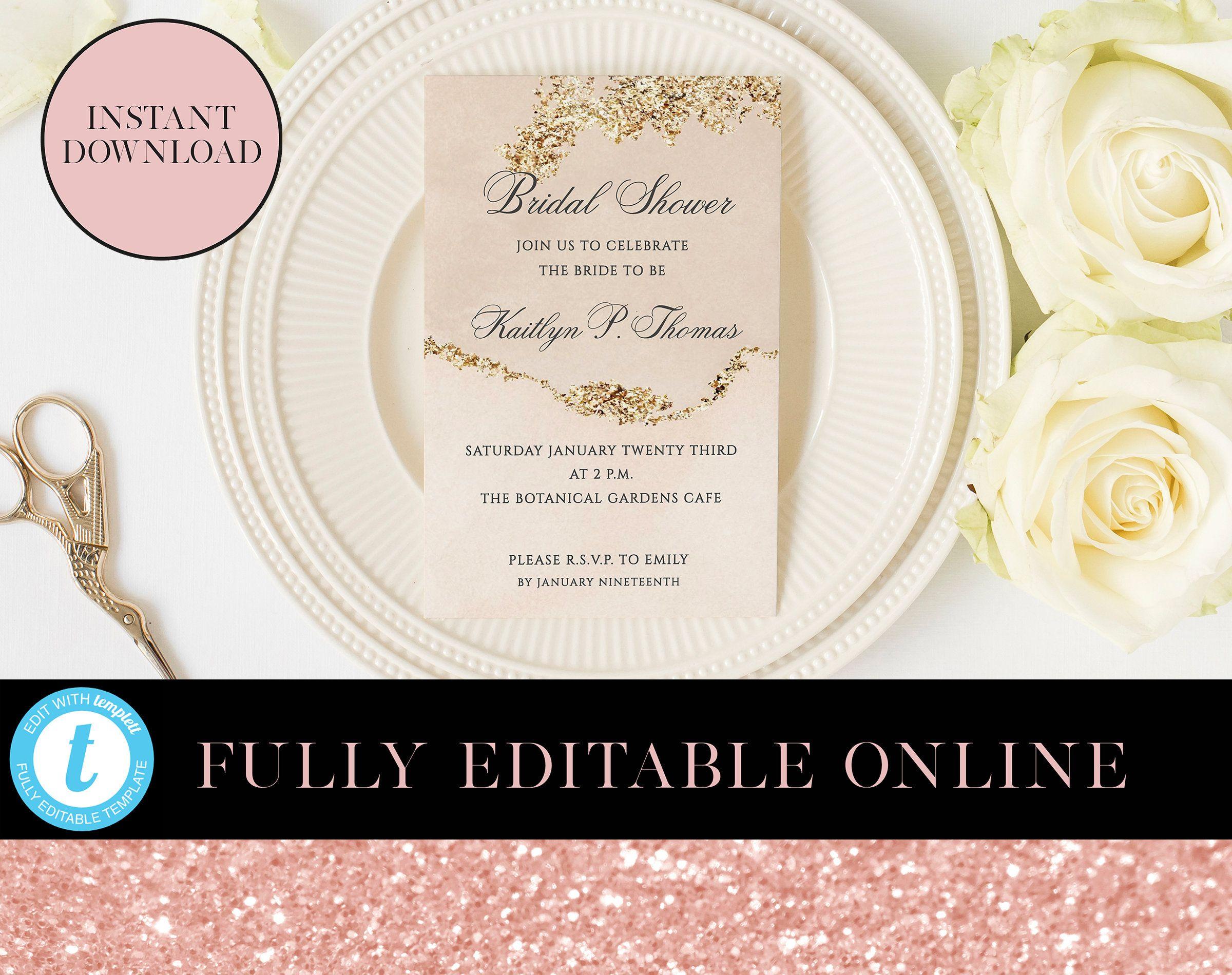 Gold Glitter Invitations Customisable Wedding Invitation