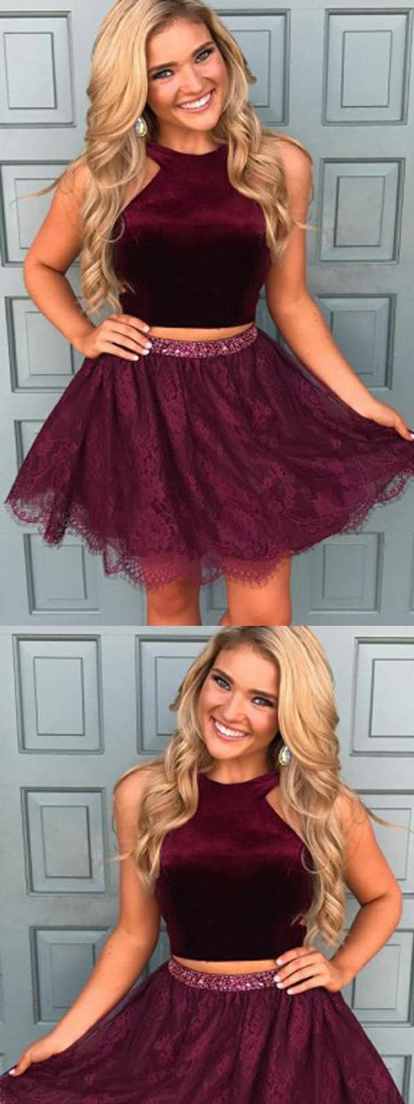 Dark red lace homecoming dresstwo piece prom dresses halter cheap