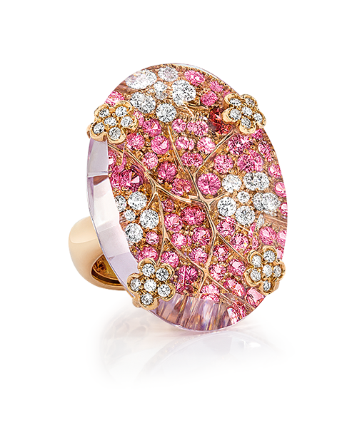 Cellini Jewelers Cellini Jewelers Pink Amethyst Spring Oval Ring. Round Diamonds are set with pink sapphires in a gorgeous spring motif. Overlay-ed with Pink Amethyst.
