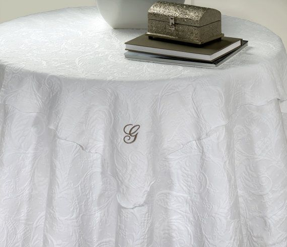 HERITAGE WHITE MATELASSE Tablecloth Topper/round By EpicureLinen