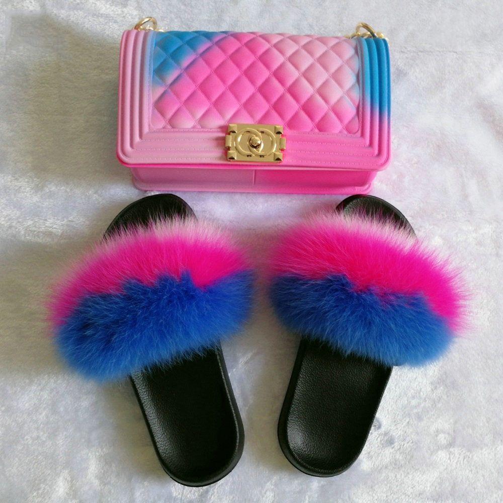 Rainbow Fox Fur Slides with Matching
