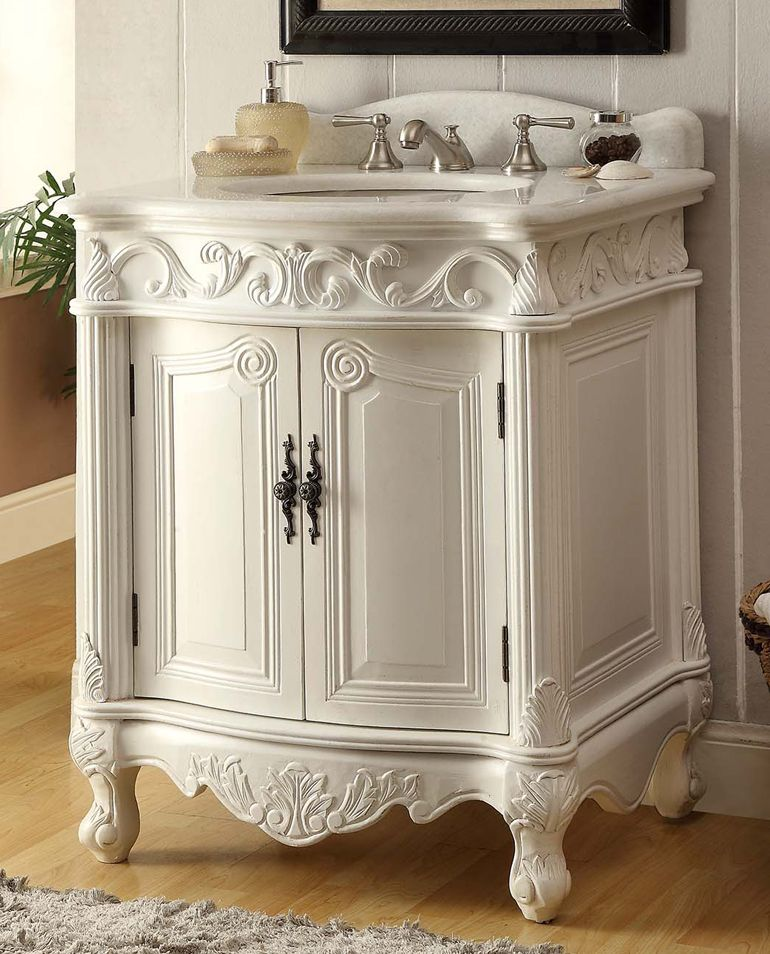 27 Inch Adelina Antique Bathroom Vanity White Finish White Vanity Bathroom Shabby Chic Bathroom Antique Bathroom Vanity