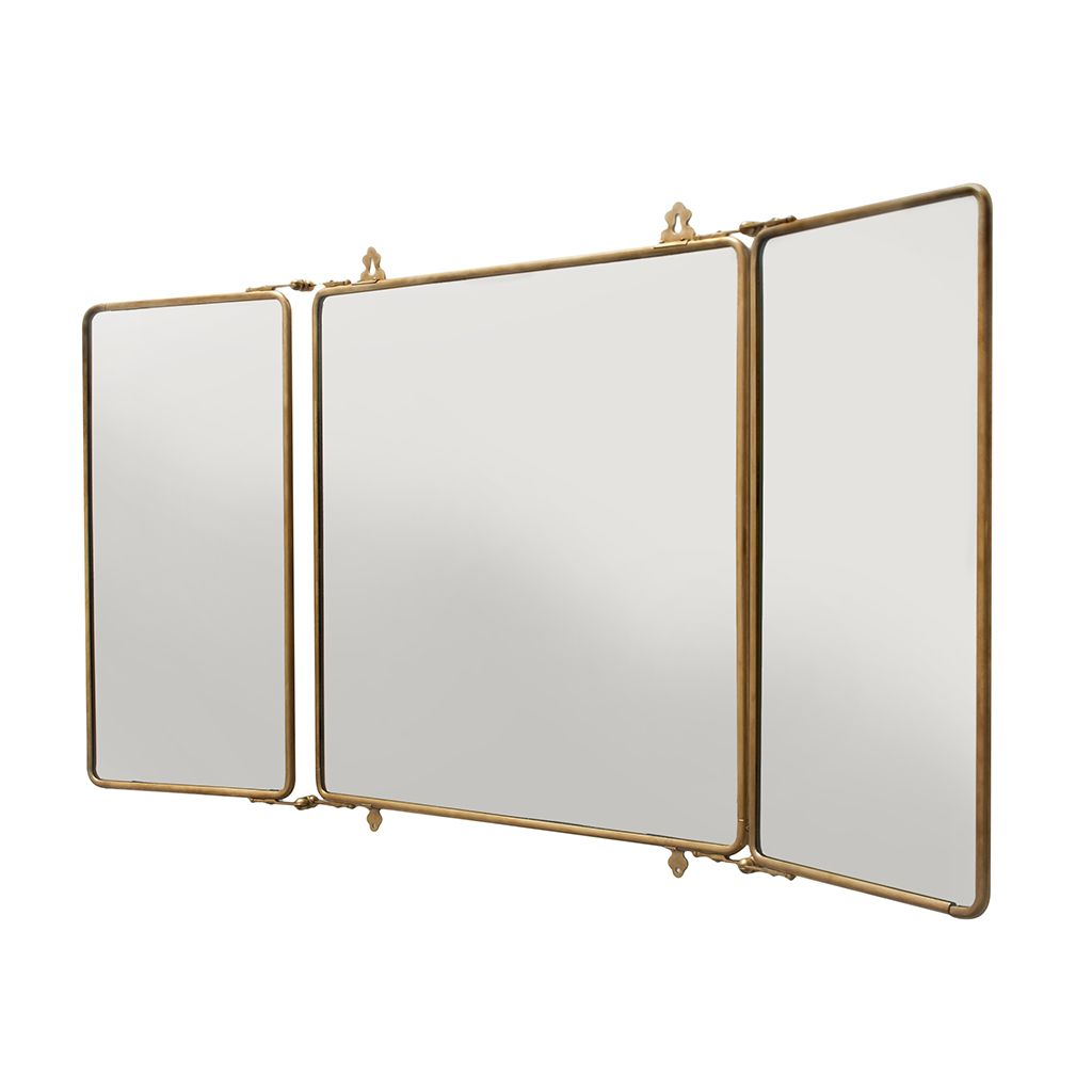 "Daphne Metal Rectangular Wall Mounted Trifold Mirror 42 3/8"" x 26 3/4"" x 1"" — Products 