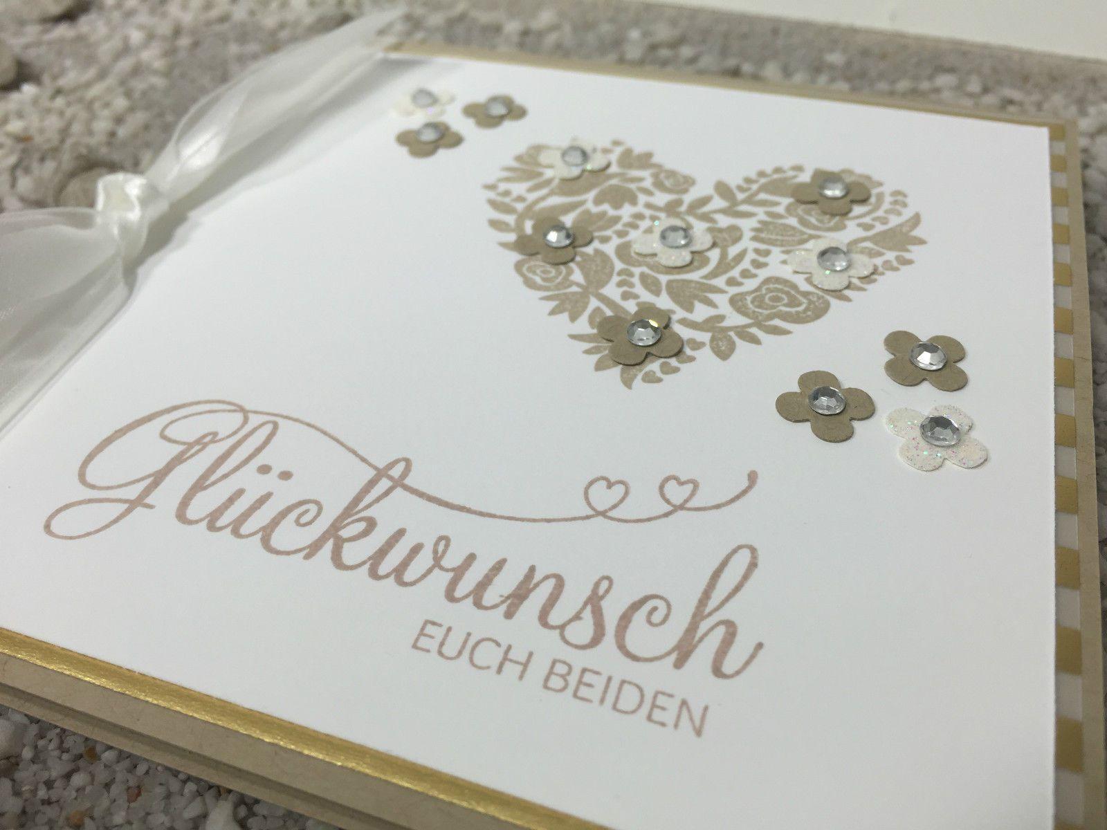 Handgefertigte 3d Gluckwunschkarte Zur Hochzeit Herz Gold Beige Stampin Up In Mobel Wohnen Hobby Gluckwunschkarte Hochzeit Karte Hochzeit Hochzeitskarten