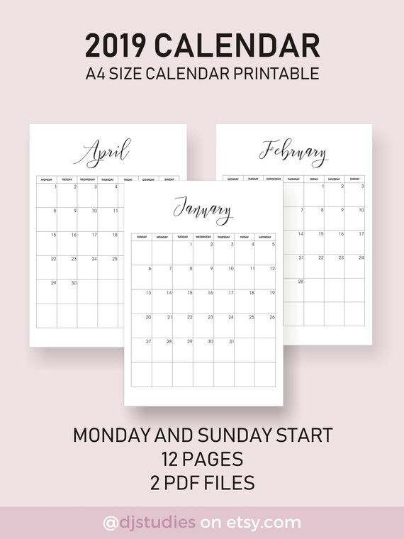 2019 Calendar Very Aesthetic Looking Calendar Simple Layout