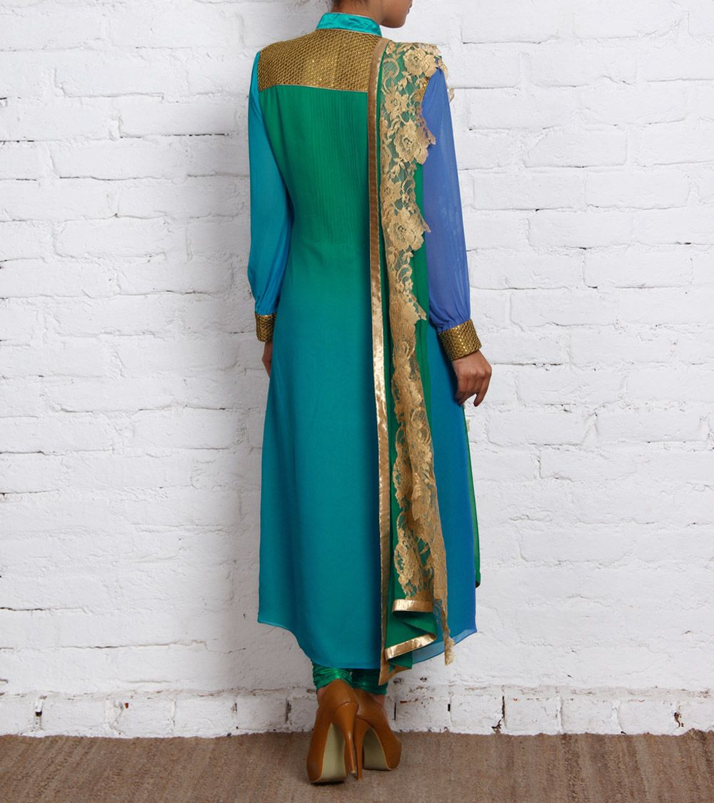 Green Ombre Georgette Churidar Suit