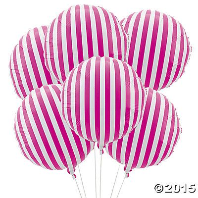 Hot Pink Striped Mylar Balloons