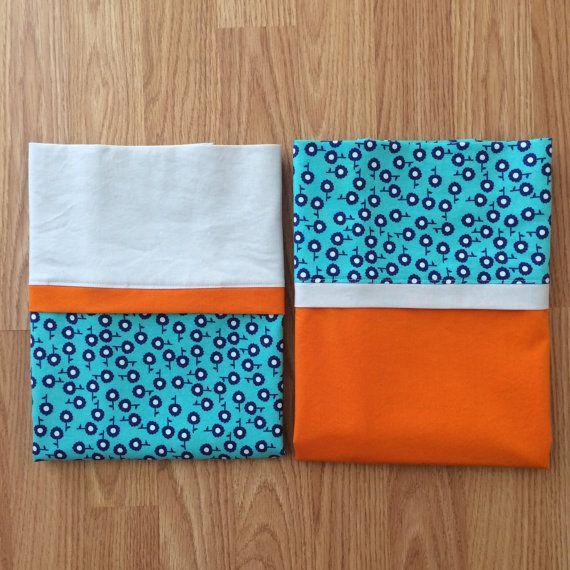 Set of 2 Standard Pillowcases - Tangerine Zing - Handmade - 100% Cotton