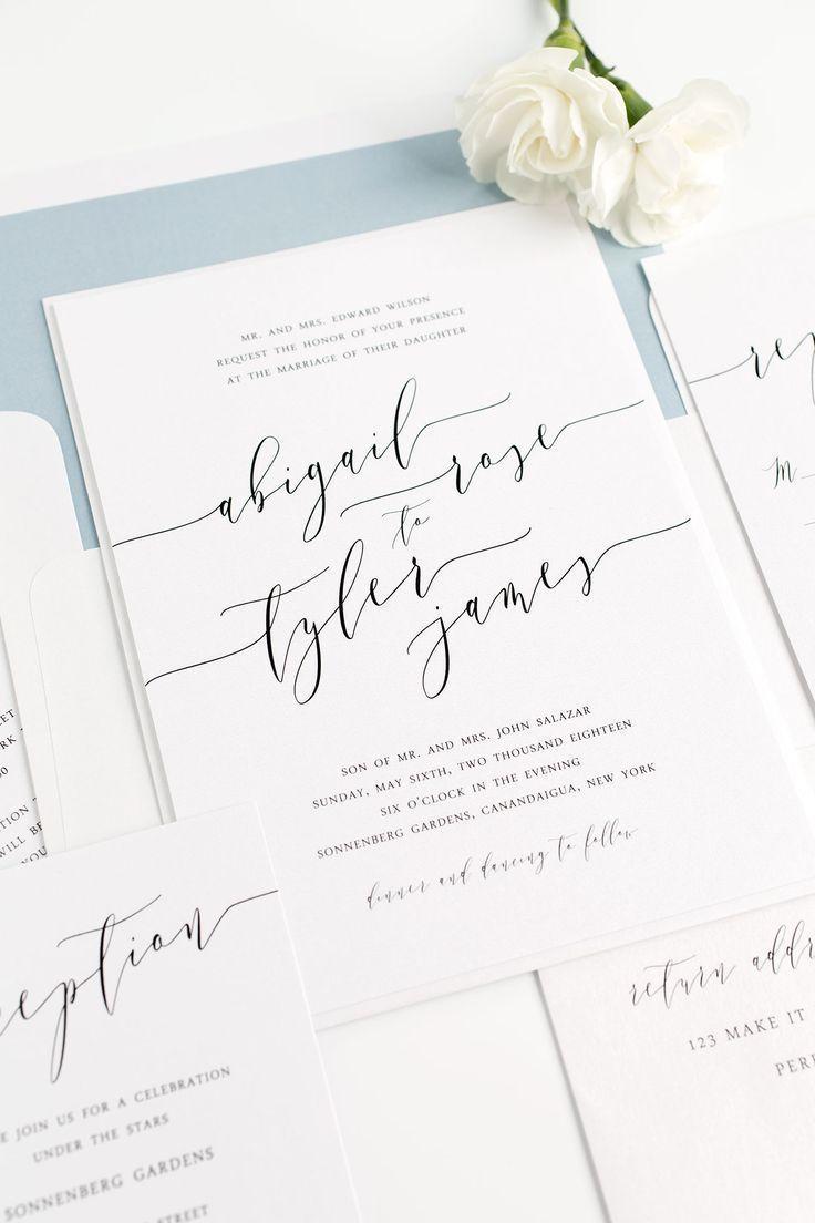 Romantic calligraphy wedding invitations dusty blue