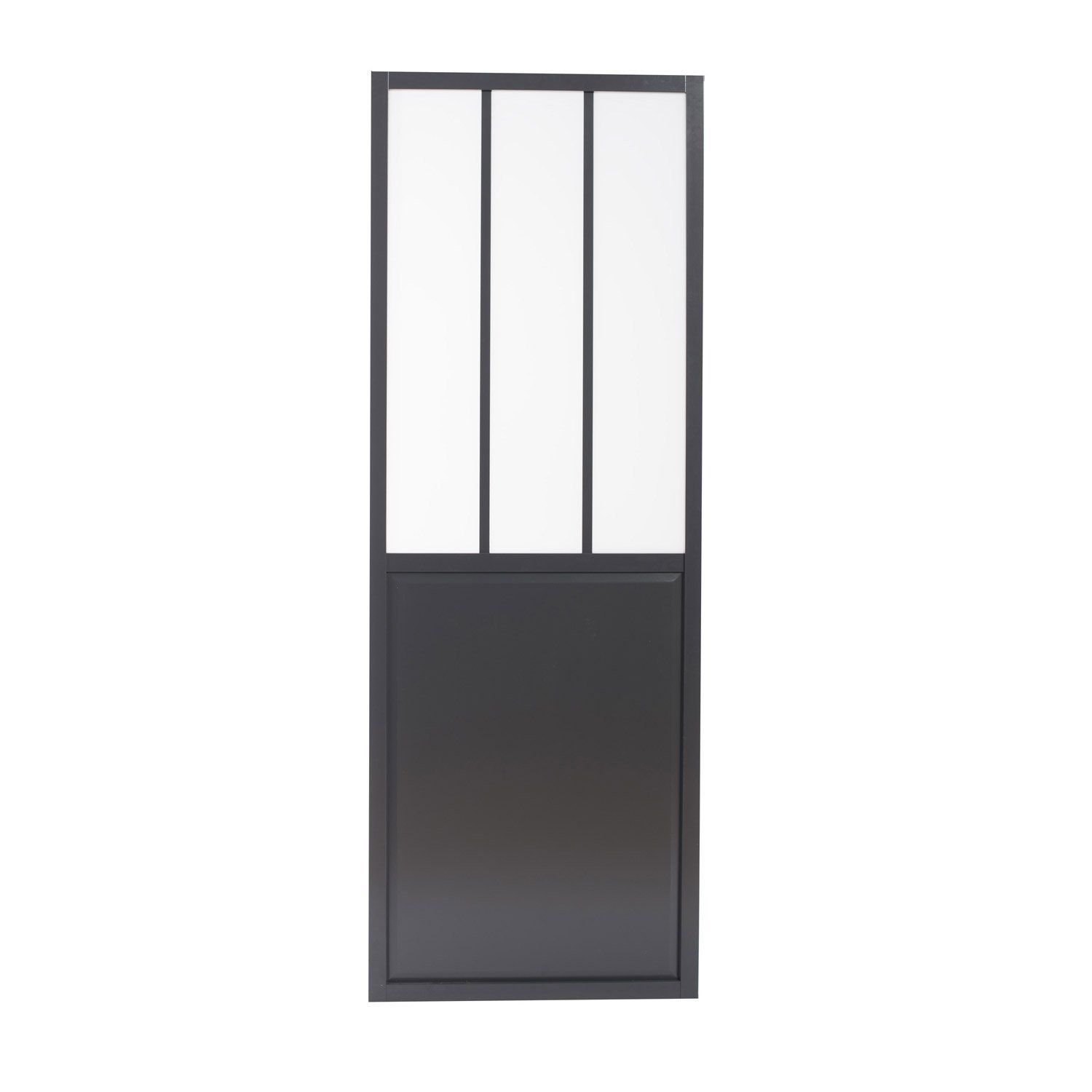 porte coulissante aluminium gris fonc verre tremp atelier artens 204 x 83 cm leroy merlin. Black Bedroom Furniture Sets. Home Design Ideas