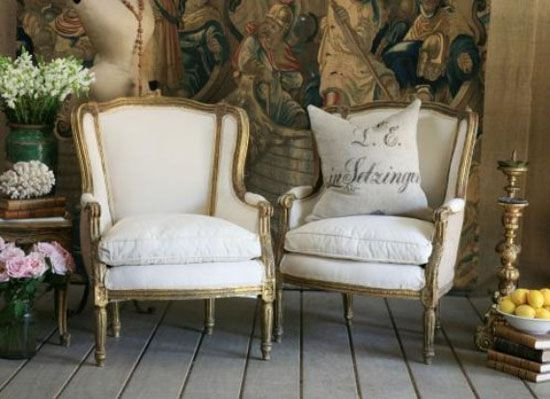 Elegant High Backed Bergere Chairs. (refurbished In Burlap.)