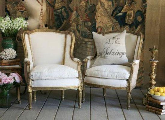 Elegant high backed bergere chairs. (refurbished in burlap.)
