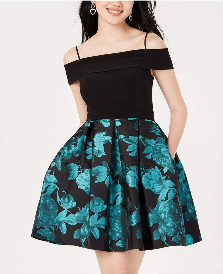 57be7e6ed675 Morgan & Company Juniors' Printed Cold-Shoulder Fit & Flare Dress