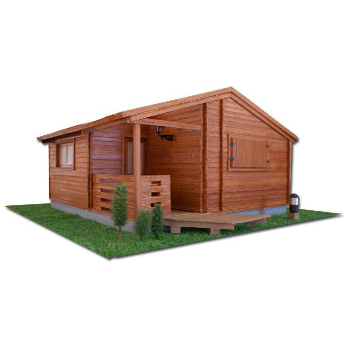 Maqueta caba as de madera en camping do ana playa mazagon - Planos de cabanas de madera ...