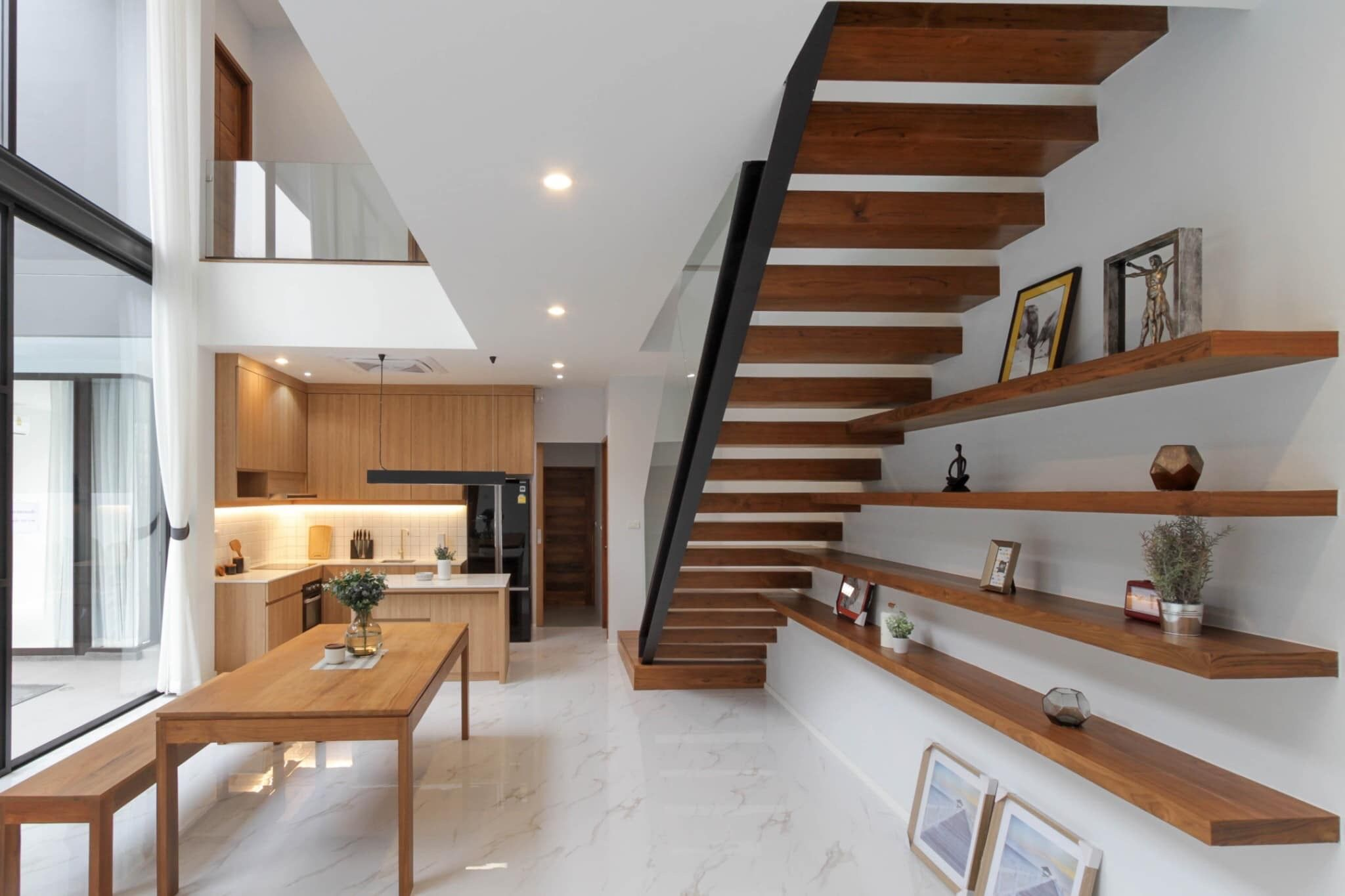 Double Story House Open Interior With Wood Staircase House Design
