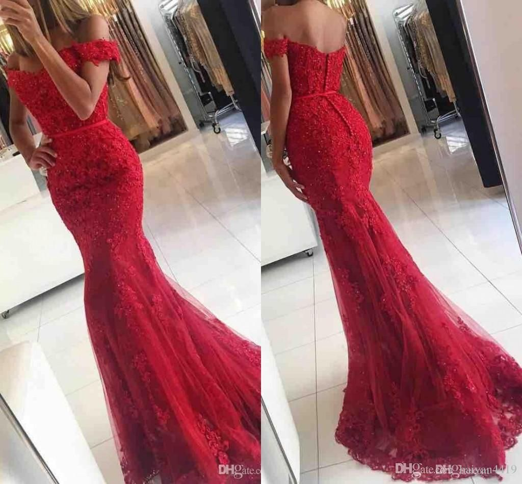 2017 Sexy Prom Dresses Off Shoulder Dark Red Burgundy ...
