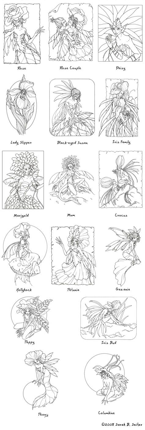 Flower Fairie Coloring Page MisticUnicorn   Coloring and drawing ...