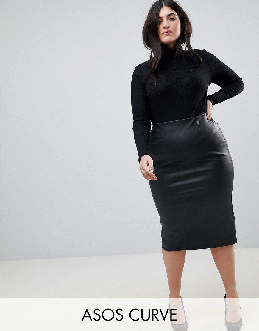 Plus Size Faux Leather Skirts - raveitsafe