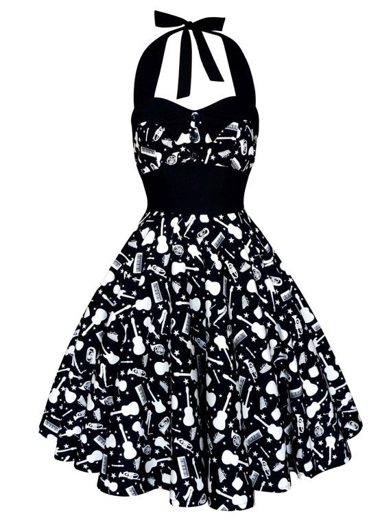 ed541e61ca6 Concert Music Dress Rockabilly Dress Guitar by LadyMayraClothing
