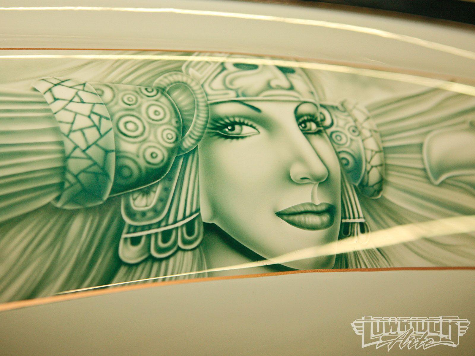 Aztec airbrush lowrider san bernardino car show custom for Airbrushed mural