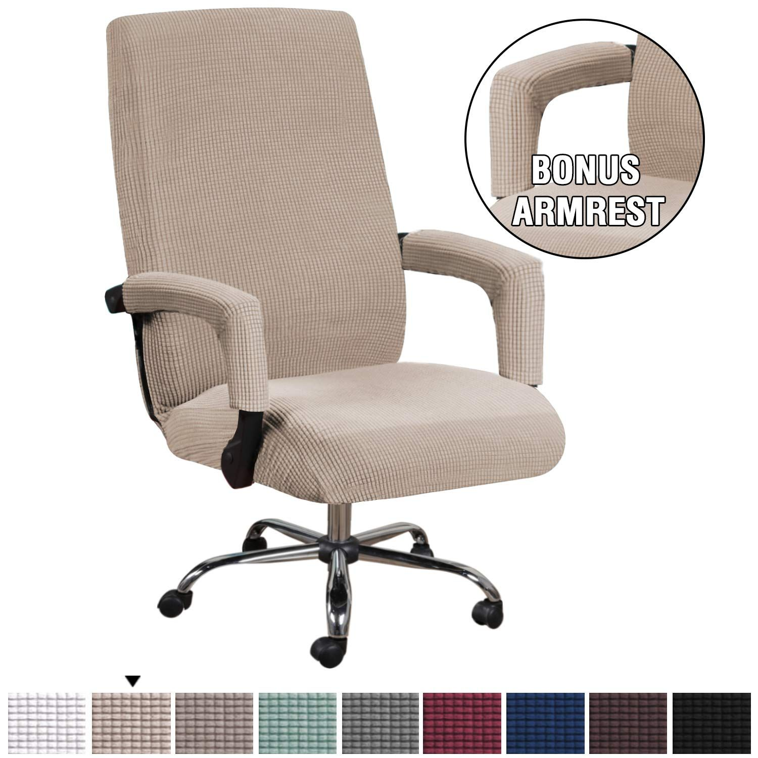 H Versailtex Form Fit Stretch Stylish Furniture Cover For Computer Office Chair Featuring Rich Jacquar Slipcovers For Chairs Stylish Office Chairs Chair Covers
