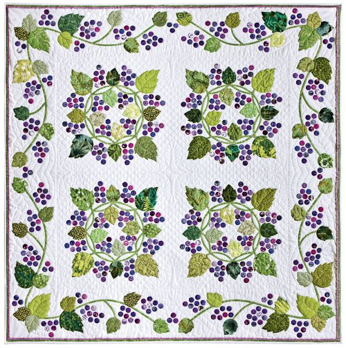 """Free pattern download.  """"Grape Escape"""" by Alex Anderson, posted by AQS at Quilt Views. The appliqué motifs are given full size. Print them on plain paper for tracing for the needle-turn method of appliqué; on printer-friendly fusible webbing for fusible appliqué; or on pre-packaged printer-friendly freezer paper sheets for starch-and-press appliqué."""