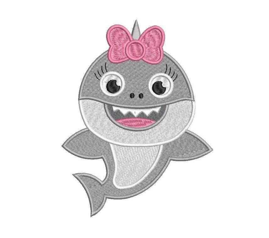 INSTANT DOWNLOAD Baby Shark Doo Doo Doo Doo Applique Embroidery Design With Alphabet S
