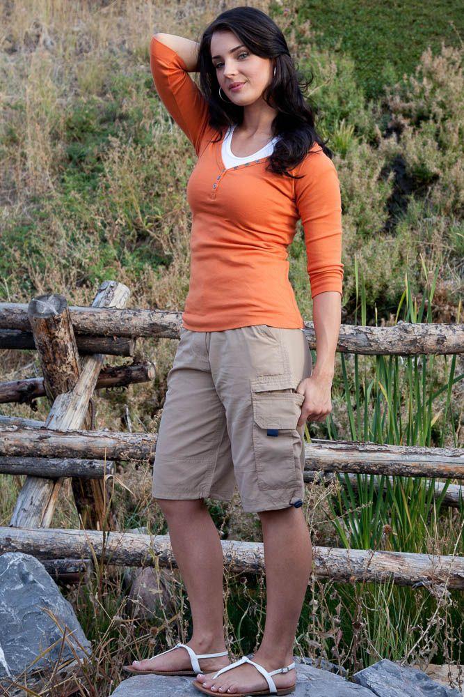 khaki shorts for women | Women's Modest Nylon Cargo Shorts in ...