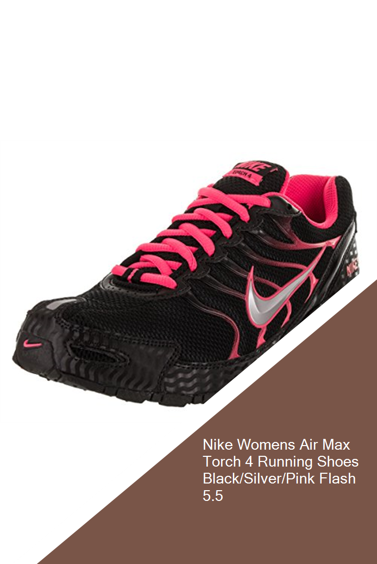 a0979865231cf Nike Womens Air Max Torch 4 Running Shoes Black Silver Pink Flash 5.5