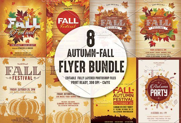Autumn Fall Flyer Bundle Creativework  Flyer Templates
