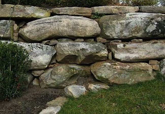 large flat boulders with mixed