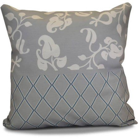 Simply Daisy 16 inch x 16 inch Scroll Dot Floral Print Outdoor Pillow, Black