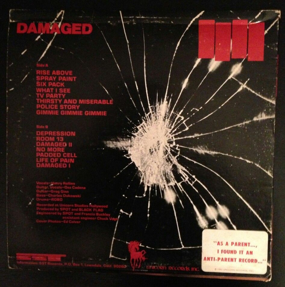 Black Flag Damaged Vinyl With Anti Parent Sticker Original Release Rise Above Parenting Vinyl