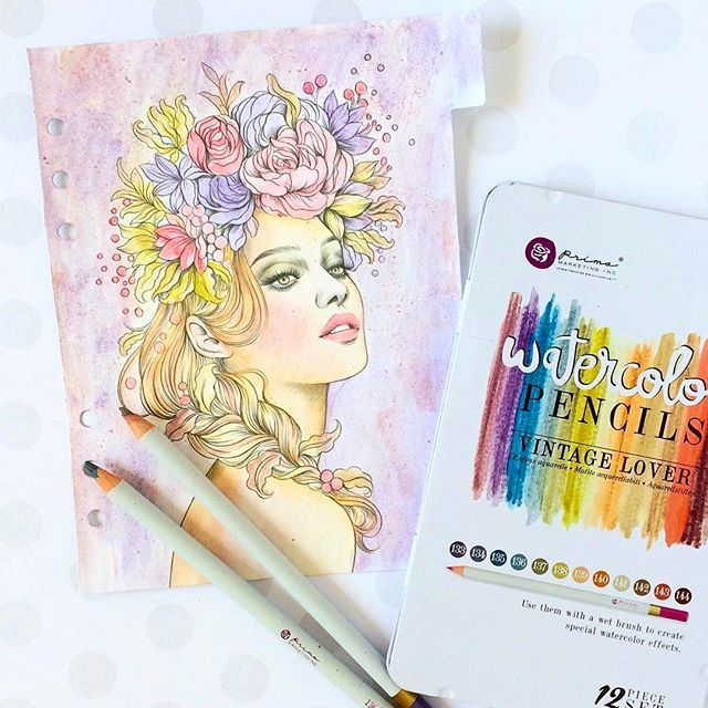 #Repost @sharonlaakkonen ・・・ And here's one more Prima Princess planner divider! This one is colored with Vintage Lovers watercolor pencils. Love how she turned out! #myprimaplanner #watercolor #plannercon2017 #primaworkshop