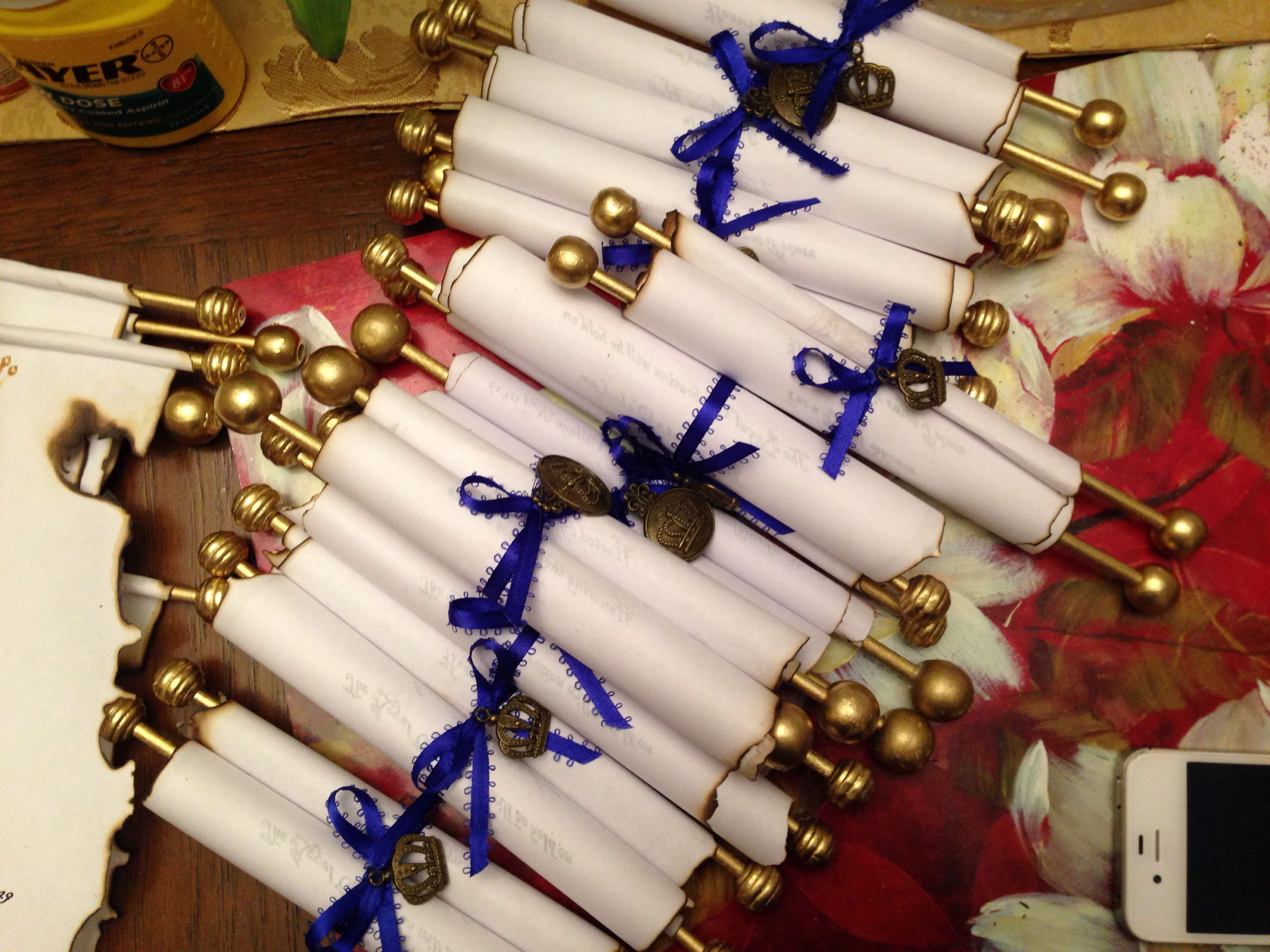 Royal blue and gold baby shower invitations DIY scrolls | Nae\'s ...