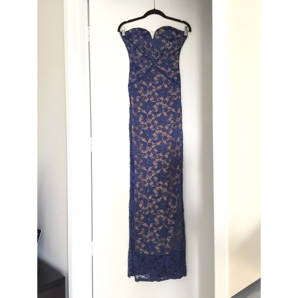 Rubber Ducky Size Small Beautiful shear blue and nude strapless dress with breast support Rubber Ducky Dresses Strapless