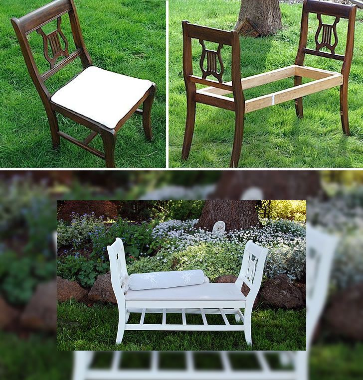 Recicla sillas viejas en un cmodo banco  DEcoracion en
