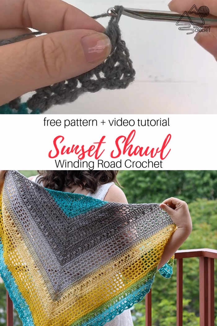 Crochet this triangle shawl with the free crochet pattern and video tutorial by Winding Road Crochet. #crochetshawl #crochetvideo #crochettutorial #crochetwrap #triangleshawl